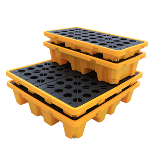 4 Drum Oil Plastic Spill Containment Pallet with Drain