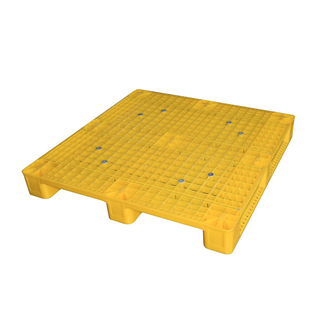 Yellow recycled plastic shipping pallets recycled